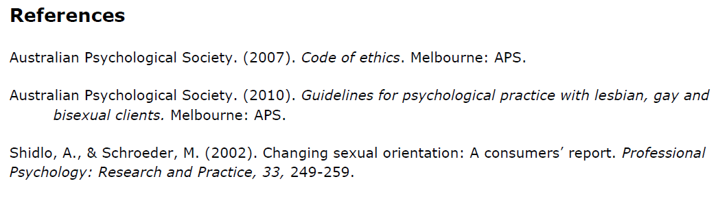 Australian Psychological Society 2015 Statement on Ex-gay